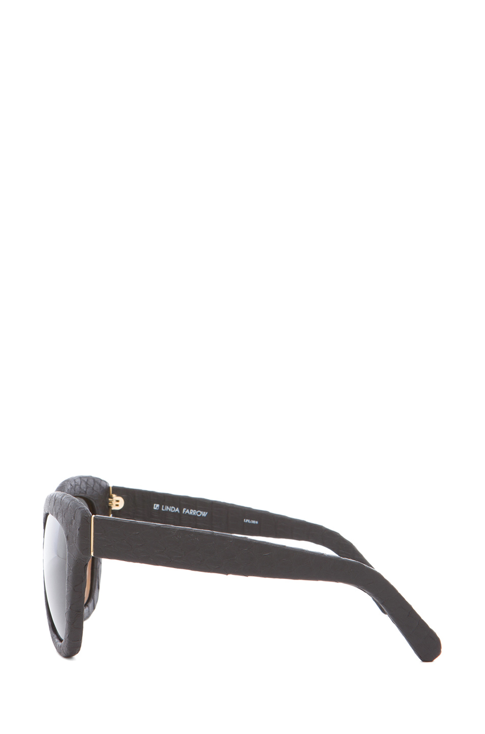 Linda Farrow|Curved Square Polarized Sunglasses in Black Snakeskin