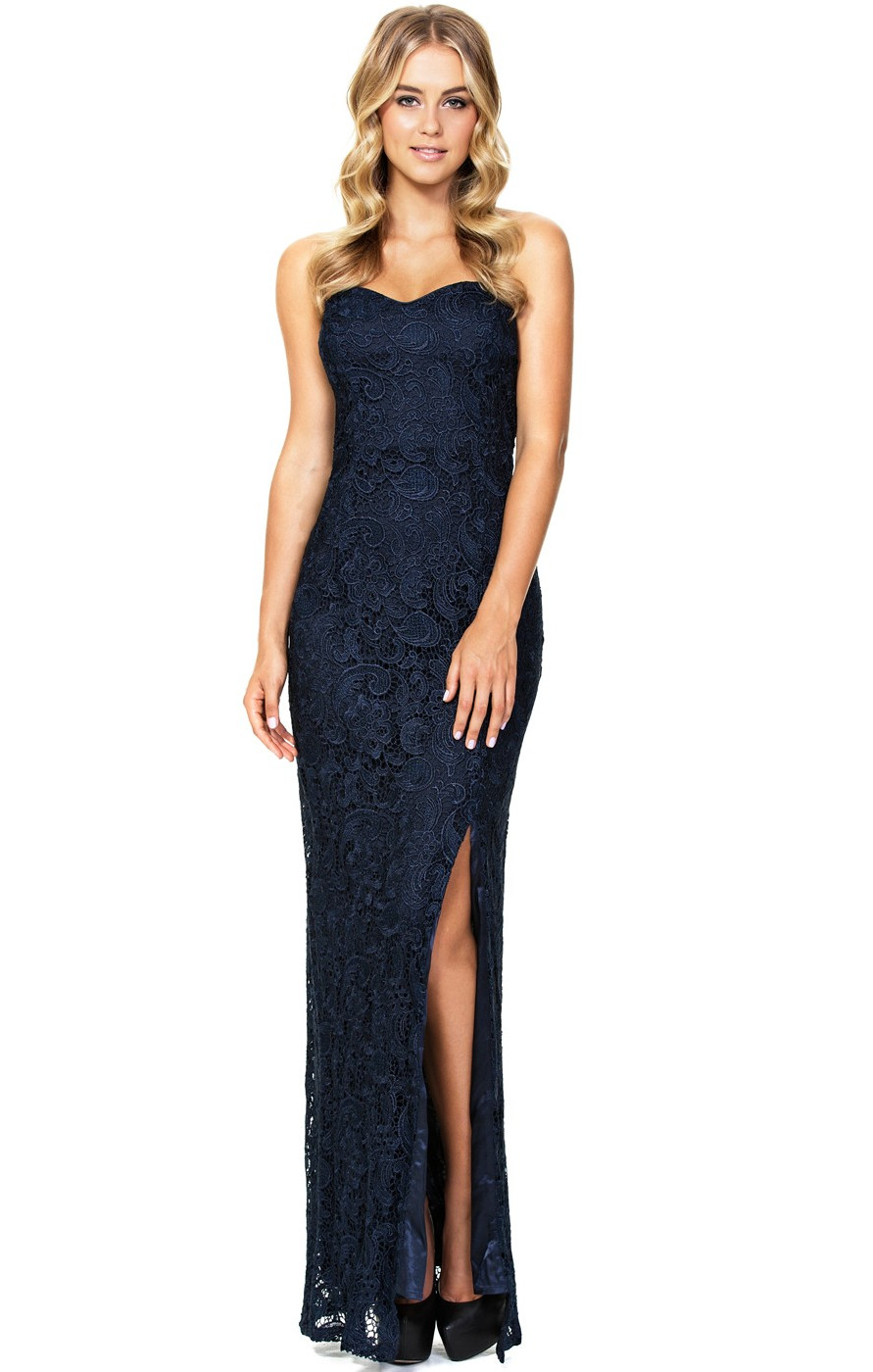 Lana Lace Evening Dress Navy by Langhem | FREE SHIPPING | ARCHFASHION