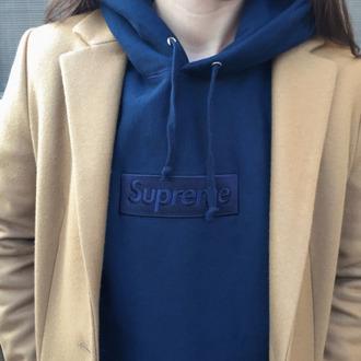 jacket supreme blue box logo supreme box logo supreme hoodie supreme sweatshirt indie fashion dope tumblr instagram boho grunge trench coat