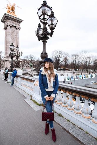 kenza blogger jacket jeans shoes hat sweater bag