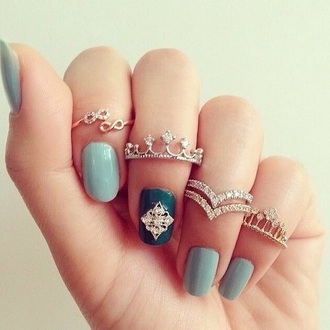 jewels crown ring finger rings gold ring infinity ring nail accessories nail stickers