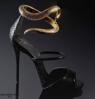 shoes heels gold black and gold heels snake