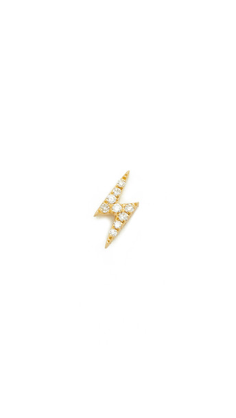 Ef Collection Diamond Lightning Bolt Single Stud Earring - Gold