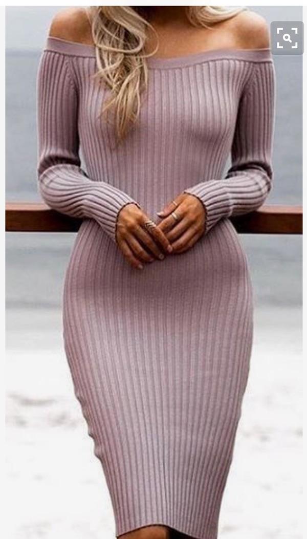 dress bodycon dress off the shoulder sweater dress pink dress knitted dress