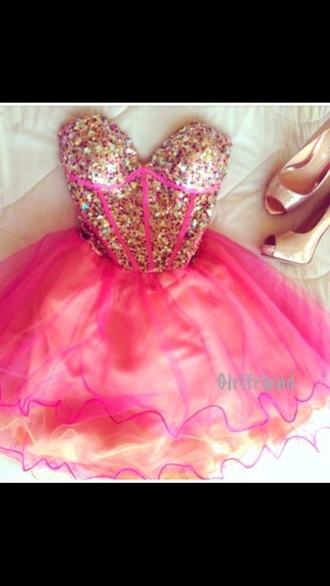 short dress bustier dress prom dress homecoming dress pink dress gold sequins sequin dress formal dress