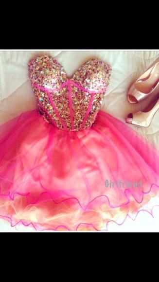 prom dress short dress bustier dress homecoming dress pink dress gold sequins sequin dress formal dress