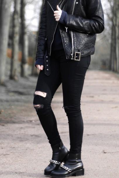 moderosa blogger rock grunge black boots grunge shoes leather jacket jeans shoes