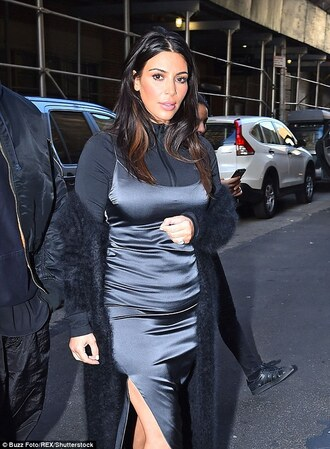 dress grey grey dress slit dress slip dress maxi dress strappy kim kardashian