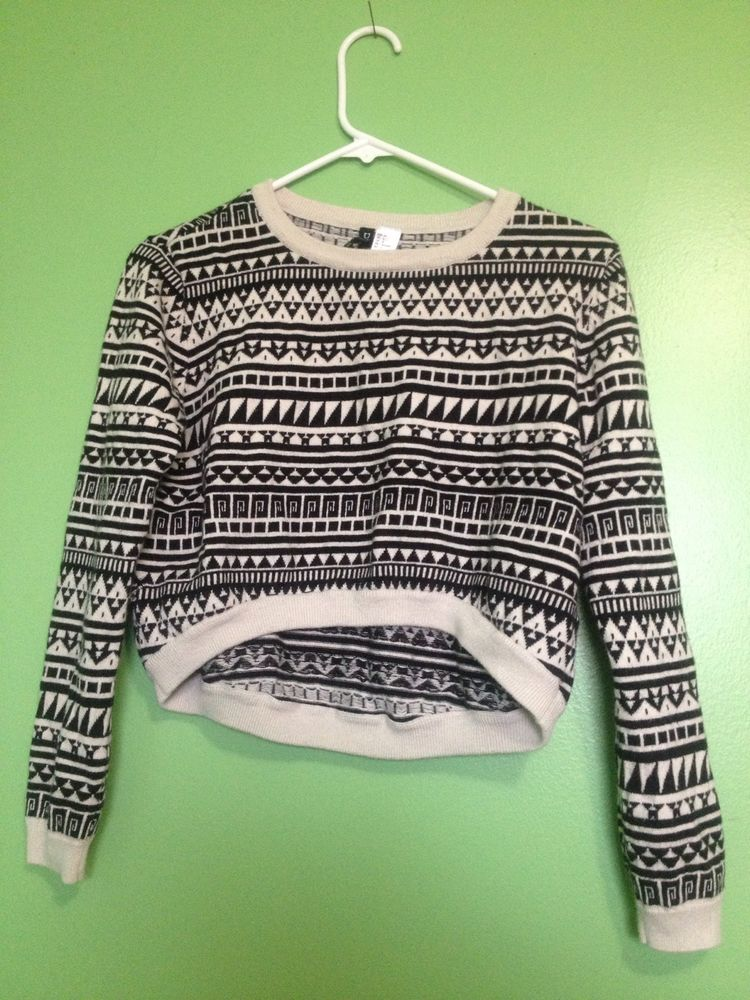 H m divided high low cropped sweater aztec navajo pattern size 6 small