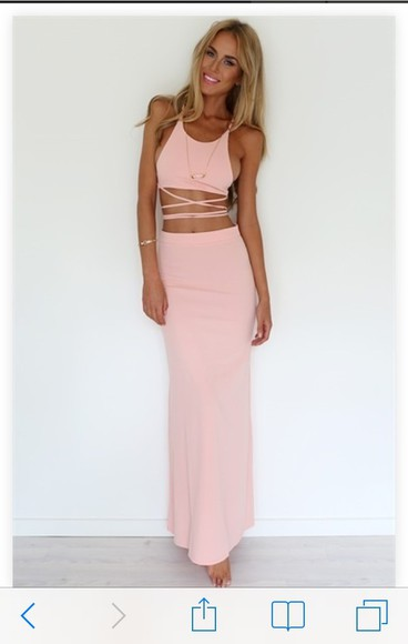 long two-piece coral