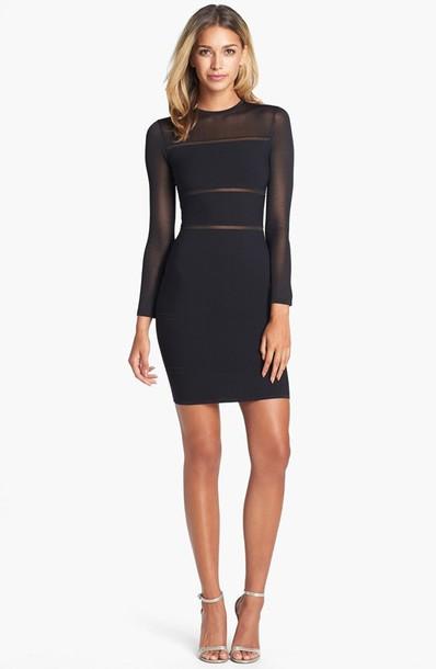 Long Sleeves Black Dress Mini Dress Mesh Mesh Dress See Through