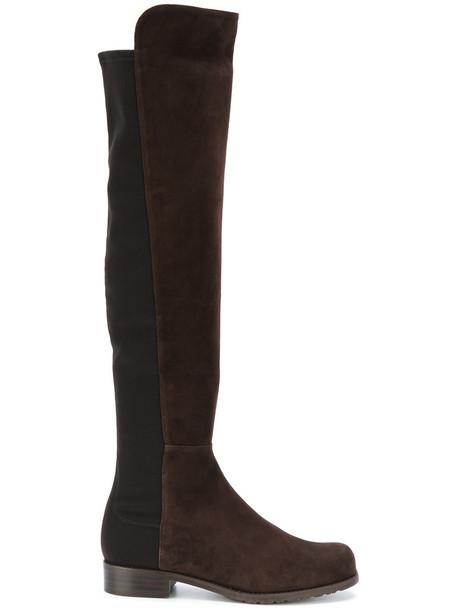 STUART WEITZMAN flat boots women spandex leather suede brown shoes