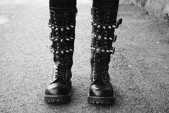 shoes spiked shoes black lace up patent shoes goth studs