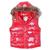 Moncler Women Down Vest Collar Fur Red