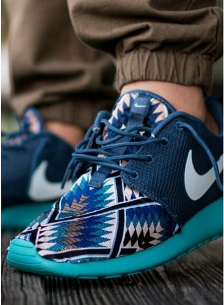 Shoes: nike, nike free run, blue, patterns, aztec, run ... - photo #17