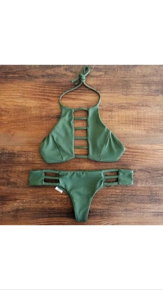 swimwear cut-out swimsuit bikini khaki green cut-out matching set two-piece