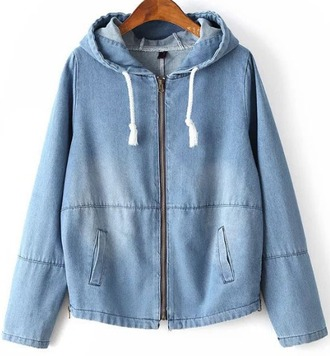 jacket girl girly girly wishlist blue denim denim jacket hoodie hooded jacket