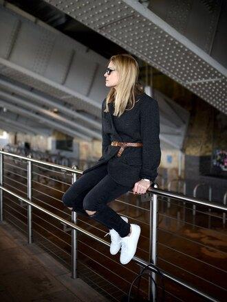 style and minimalism blogger jacket shirt jeans bag sunglasses jewels belt