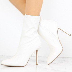 Women's White Stiletto Heels Zip Fashion Ankle Boots Comfortable Shoes