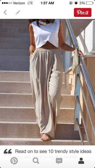 pants taupe taupe pants maxi skirt pockets white top crop tops