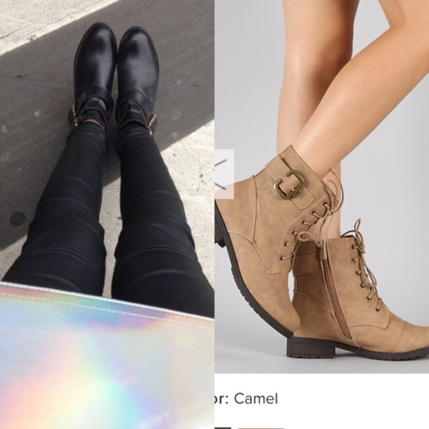 39fad493e83 shoes, camel, ankle boots, no heel - Wheretoget