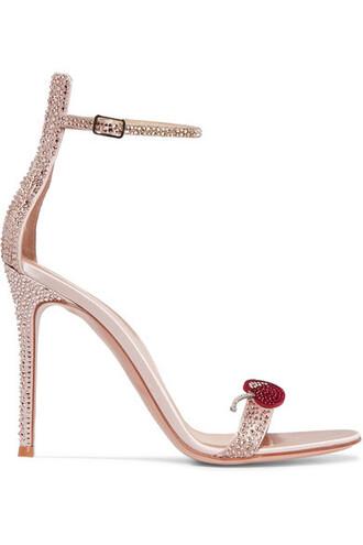 rose embellished sandals satin shoes