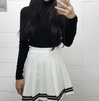 skirt kozy black black and white high waisted white tennis skirt cute girly weheartit instagram tumblr tumblr outfit pleated skirt pleated cute outfits cute dress cute top school girl shirt black dress black crop top black shirt aesthetic