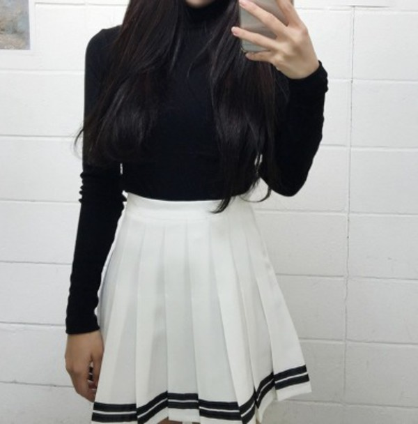 Skirt: kozy, black, black and white, high waisted, white, tennis ...
