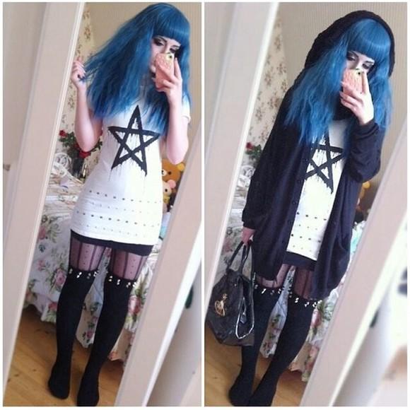 spikes studs grunge cardigan pastelbat hood pastel goth goth wig kawaii japan