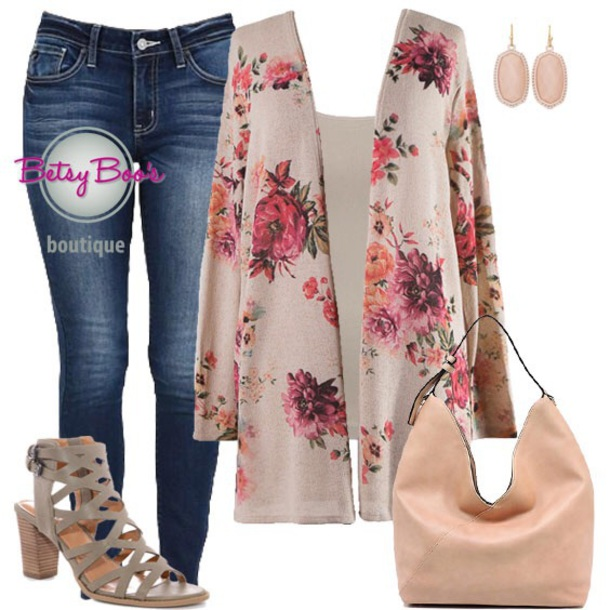 cardigan denim jeans cardigan floral cream tan outfit outfit idea ootd ootn fashion style chic trendy beautiful
