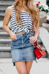 top,tumblr,july 4th,stripes,striped top,skirt,mini skirt,denim,denim skirt,bag,red bag