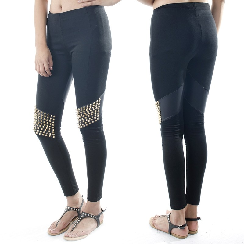 Ebclo Black Faux Leather Patches Gold Spike Studded Leggings Skinny Pants New | eBay