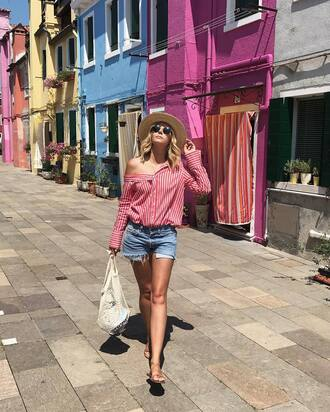 shirt net tumblr red shirt stripes striped shirt denim denim shorts shorts sandals flat sandals bag mesh sunglasses hat shoes