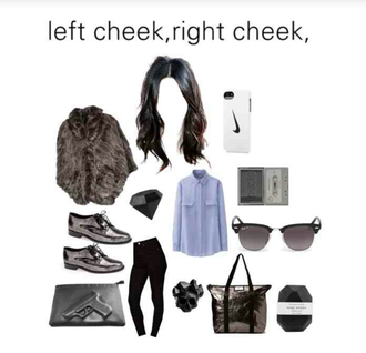fur coat blouse bag polyvore grunge jeans jewels sunglasses phone cover uniqlo long sleeves asos black skinny jeans diane von furstenberg oxfords gun crystal skull ring rayban nike iphone 5 case diamonds