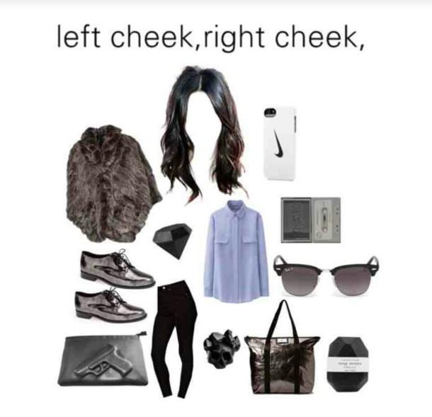 fur coat blouse bag polyvore grunge jeans jewels sunglasses phone cover uniqlo long sleeves asos black skinny jeans diane von furstenberg oxfords gun crystal skull ring rayban nike iphone 5 case diamonds
