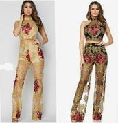jumpsuit,sheer,gold,floral