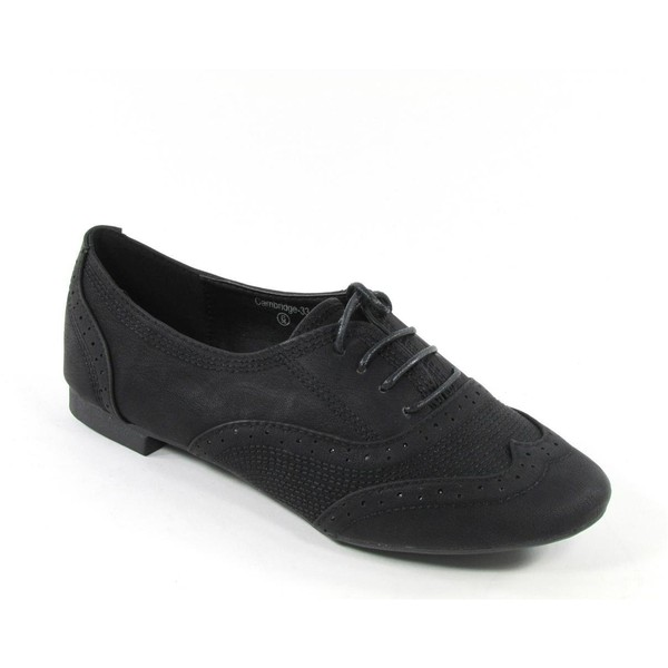 Nature Breeze Cambridge 33 Perforated lace Ups Oxfords Flats... - Polyvore
