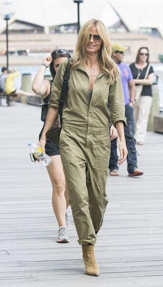 shoes ankle boots jumpsuit military pants heidi klum