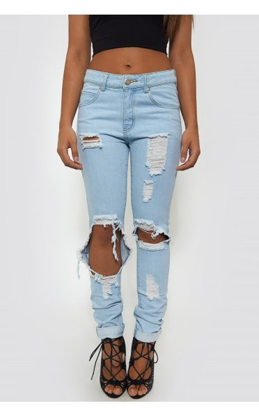 Celebrity Style Extreme Ripped Distressed Jeans - from The Fashion Bible UK