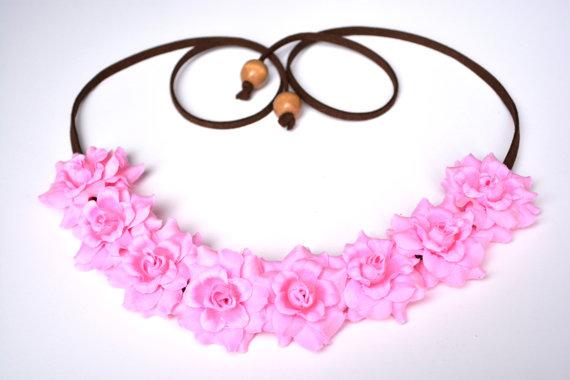 Pink rose flower crown pink flower halo floral headband festival headpiece pink rose hippie headwrap rose crown festival flower halo