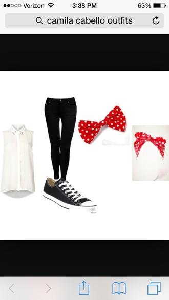 blouse pants shoes bow