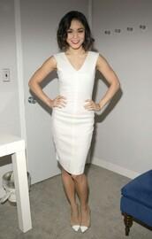dress,midi dress,vanessa hudgens,white,pumps