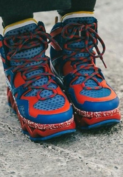 shoes red blue gold