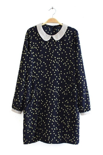 Flowers Print Peter Pan Collar Dress [FXBI00373] - PersunMall.com