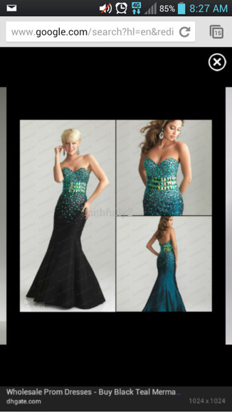 dress teal black