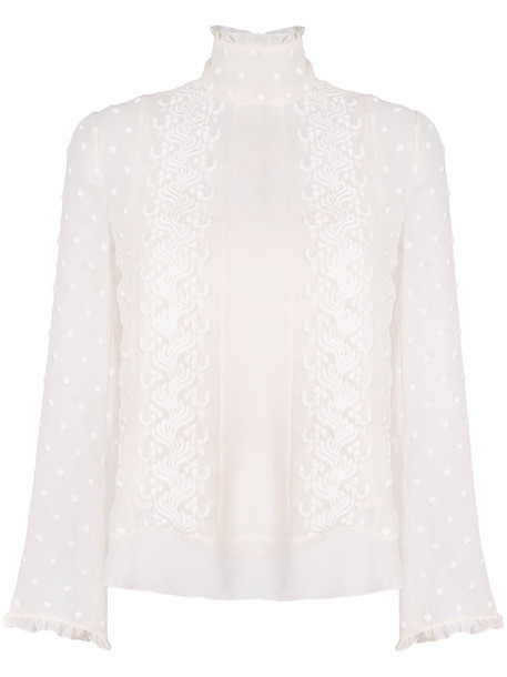 See By Chloé See By Chloé - embroidered dot blouse - women - Cotton/Polyester/Viscose - 36, Nude/Neutrals, Cotton/Polyester/Viscose