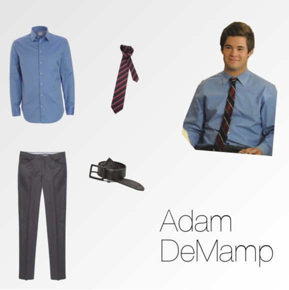 blue shirt belt pants adam demamp adam devine sexy motherfucker tie blue tie red tie striped tie grey pants workaholics men work black belt