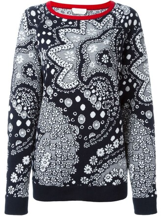 jumper women cotton print blue paisley sweater