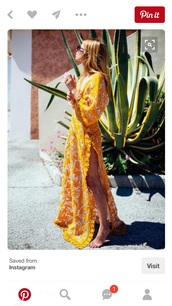 dress,yellow,yellow dress,maxi dress,slit dress,lace dress,maxi floral dress,boho dress,yellow summer dress,summer outfits,summer dress,beach party,v neck dress