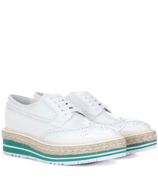 Prada Wingtip Leather Brogues in white